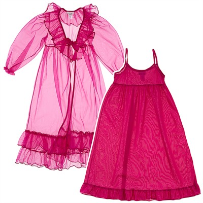 Laura Dare Fuchsia Peignoir Set for Toddlers and Girls