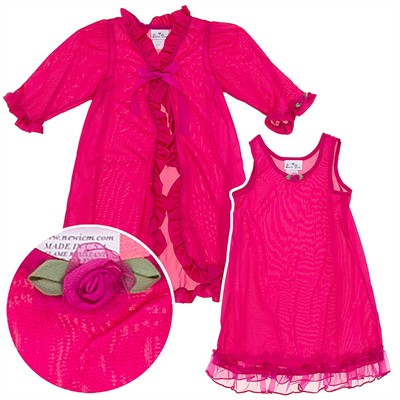 Laura Dare Fuchsia Peignoir Set for Girls