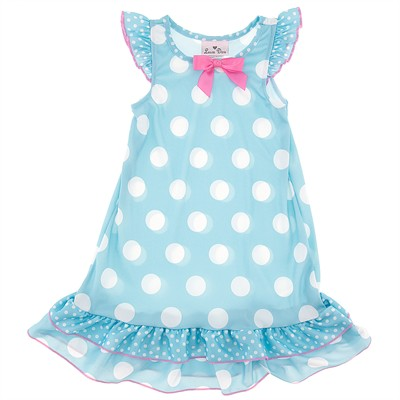 Laura Dare Light Blue Polka Dot Nightgown for Toddler Girls