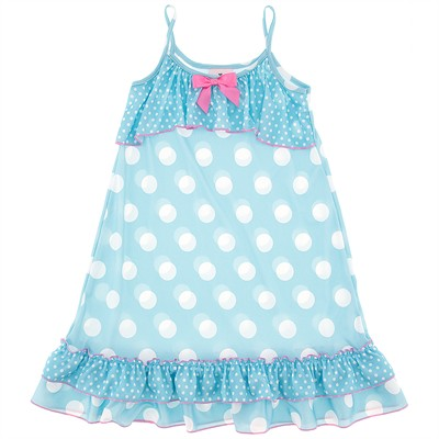 Laura Dare Light Blue Polka Dot Strappy Nightgown for Girls
