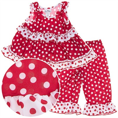 Laura Dare Red Frilly Dot Toddler Pajamas for Girls