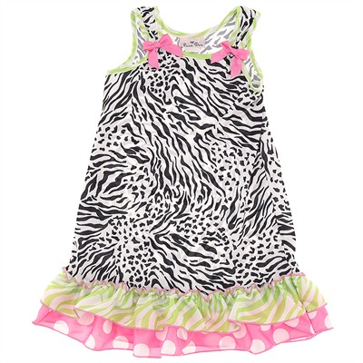 Laura Dare Black and Green Animal Print Nightgown for Toddler Girls