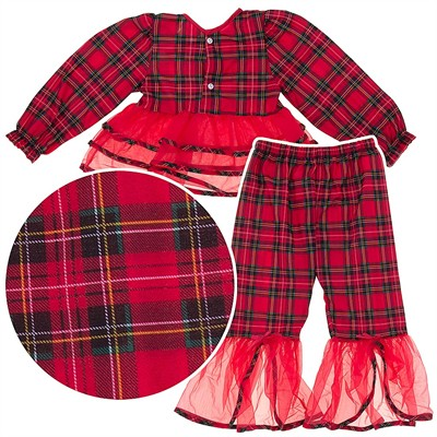 Laura Dare Red Plaid Ruffled Pajamas for Girls