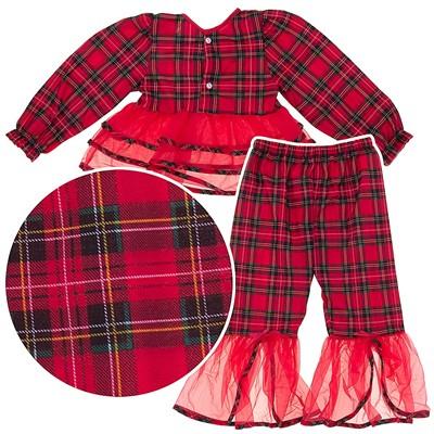 Laura Dare Red Plaid Ruffled Pajamas for Girls