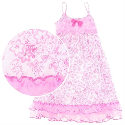 Laura Dare Whimsical Pink Floral Strappy Nightgown for Girls