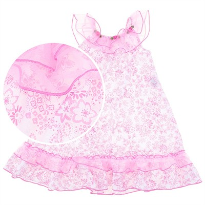 Laura Dare Whimsical Pink Floral Nightgown for Toddler Girls
