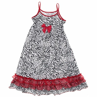 Laura Dare Zebra Strappy Nightgown for Girls