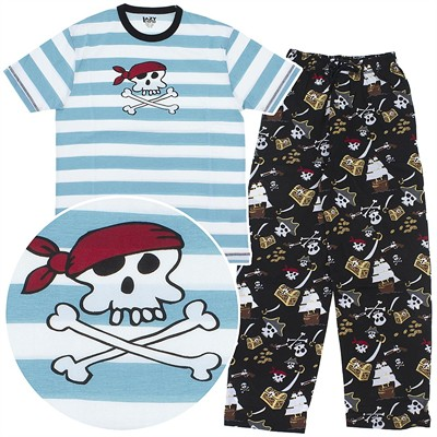 Lazy One Blue Pirate Unisex Cotton Pajamas