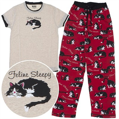 Lazy One Feline Sleepy Cotton Pajamas for Women