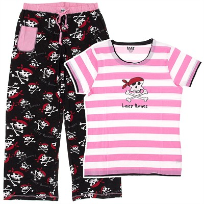 Lazy One Pink Pirate Cotton Pajamas for Juniors