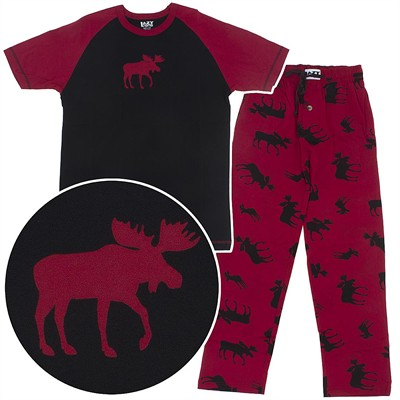 Lazy One Red and Black Cotton Moose Unisex Pajamas