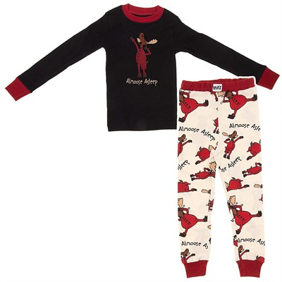 Lazy One Almoose Asleep Cotton Pajamas for Boys