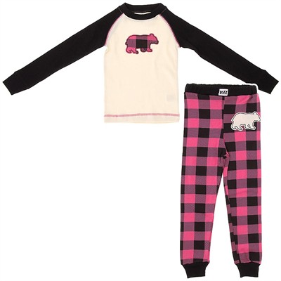 Lazy One Pink Bear Plaid Cotton Pajamas for Girls