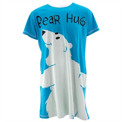 Lazy One Teal Bear Hug Nightshirt for Women