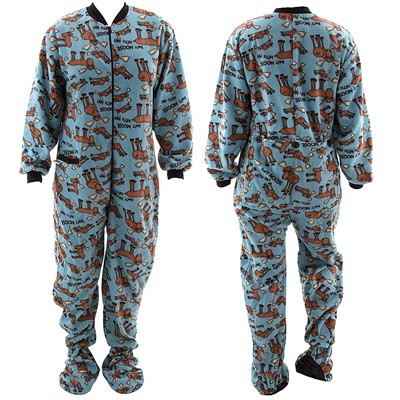 Lazy One Don't Moose With Me Blue Footed Pajamas for Adults