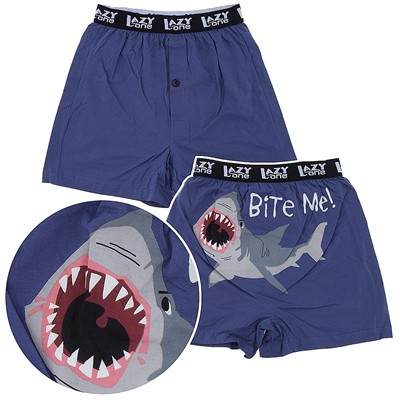 Lazy One Bite Me Shark Cotton Boxer Shorts for Men
