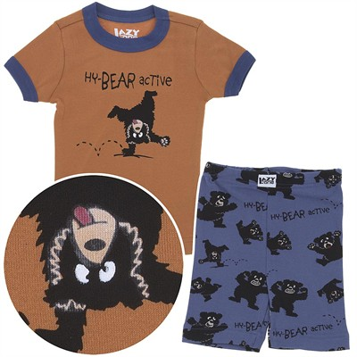 Lazy One Hy-Bear Active Short Cotton Pajamas for Toddler Boys