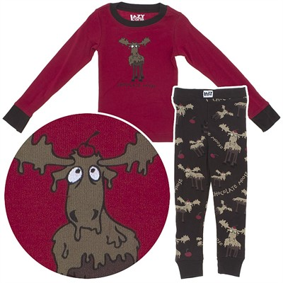 Lazy One Chocolate Moose Cotton Pajamas for Toddlers and Boys