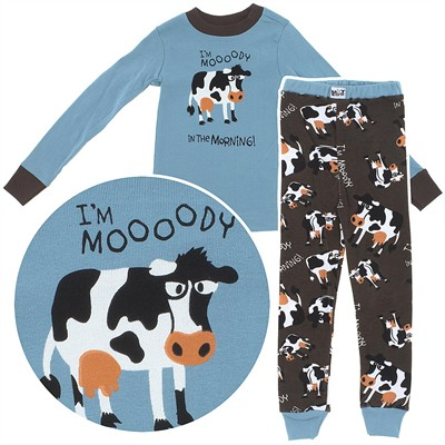 Lazy One Moody in the Morning Cotton Pajamas for Toddlers and Boys