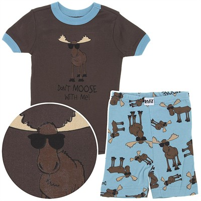 Lazy One Don't Moose with Me Short Cotton Pajamas for Toddler Boys