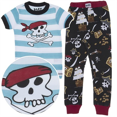 Lazy One Blue Pirate Cotton Pajamas for Toddlers and Boys