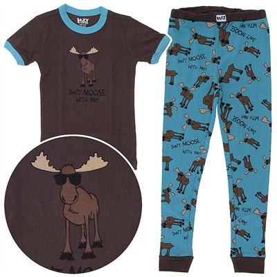 Don't Moose with Me Short Sleeved Cotton Pajamas for Toddlers and Boys
