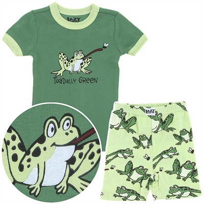 Lazy One Toadally Green Short Cotton Pajamas for Toddlers and Boys