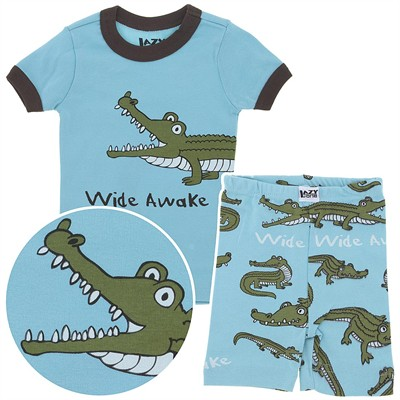 Lazy One Wide Awake Short Cotton Pajamas for Toddlers and Boys