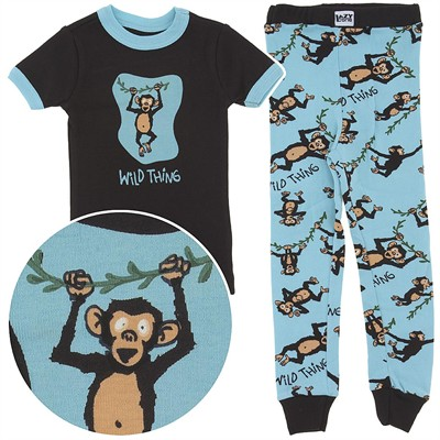 Lazy One Wild Thing Cotton Pajamas for Toddlers and Boys