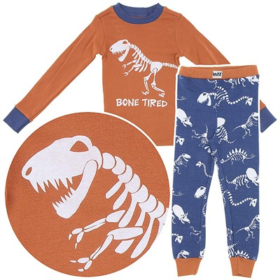 Lazy One Bone Tired Dinosaur Cotton Pajamas for Boys