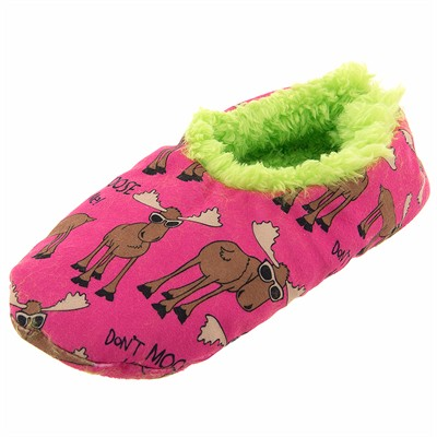 Lazy One Don't Moose With Me Fuzzy Slippers for Women