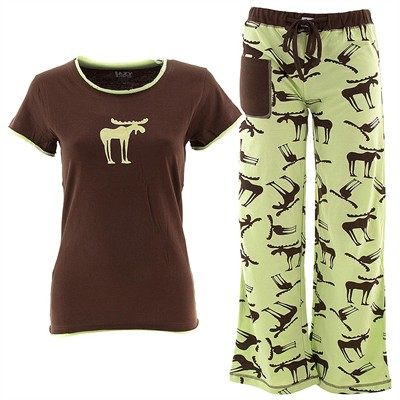 Lazy One Funky Moose Pajama Set for Juniors