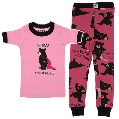 Lazy One I'm a Bear in the Morning Pajama Set for Toddlers and Girls