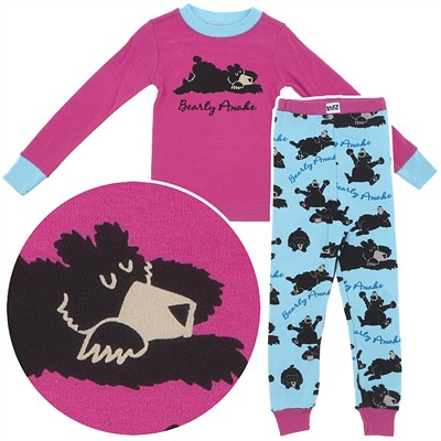 Lazy One Bearly Awake Cotton Pajamas for Toddlers and Girls