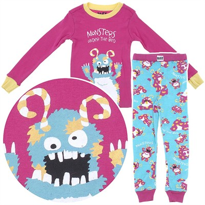 Lazy One Monsters Under the Bed Cotton Pajamas for Toddlers and Girls