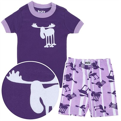 Lazy One Purple Moose Short Cotton Pajamas for Toddlers and Girls
