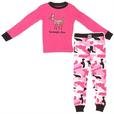 Lazy One Goodnight Deer Cotton Pajamas for Girls