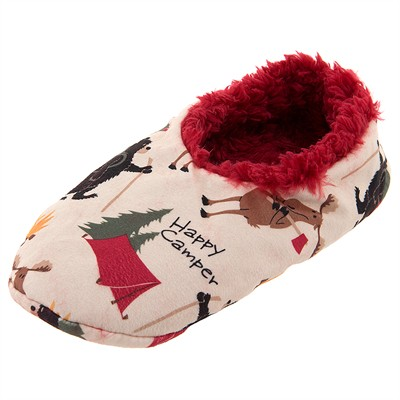 Lazy One Happy Camper Fuzzy Slippers for Women