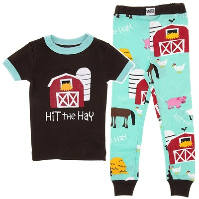 Lazy One Hit the Hay Teal Cotton Pajamas for Girls