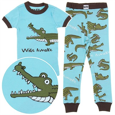 Lazy One Wide Awake Crocodile Cotton Pajamas for Toddlers and Boys