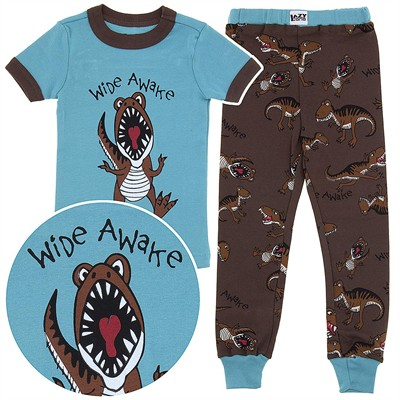 Lazy One Wide Awake Dinosaur Cotton Pajamas for Toddlers and Boys