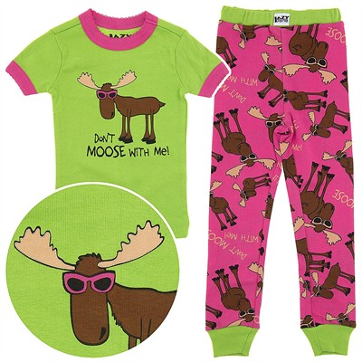 Lazy One Don't Moose with Me Cotton Pajamas for Toddlers and Girls