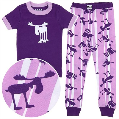 Lazy One Moose Stripes Cotton Pajamas for Toddlers and Girls