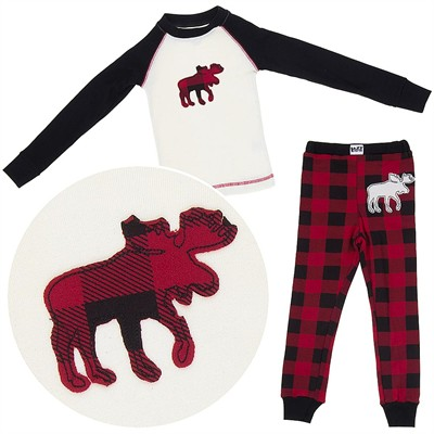 Lazy One Plaid Moose Cotton Pajamas for Toddlers and Boys