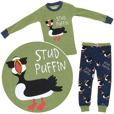 Lazy One Stud Puffin Cotton Pajamas for Toddlers and Boys