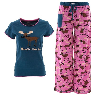 Lazy One Moose-tache Pajama Set for Juniors