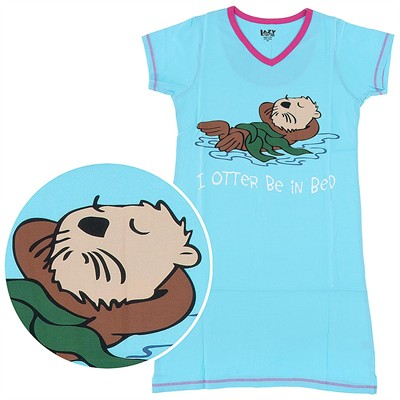 Lazy One I Otter Be in Bed Nightshirt for Women