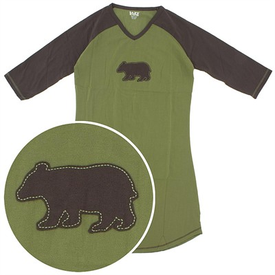 Lazy One Brown Bear Cotton Nightshirt for Women
