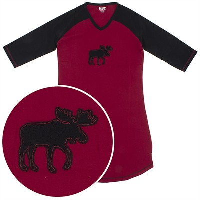 Lazy One Red Moose Cotton Nightshirt for Women