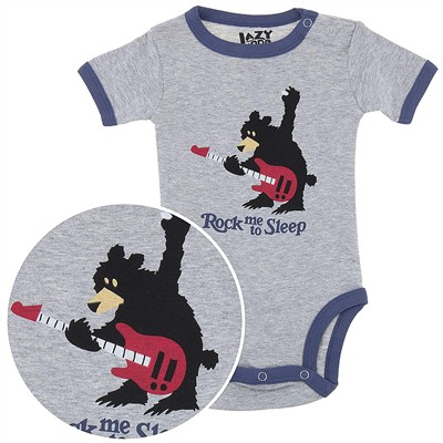 Lazy One Gray Rock Me to Sleep Onesie for Baby Boys